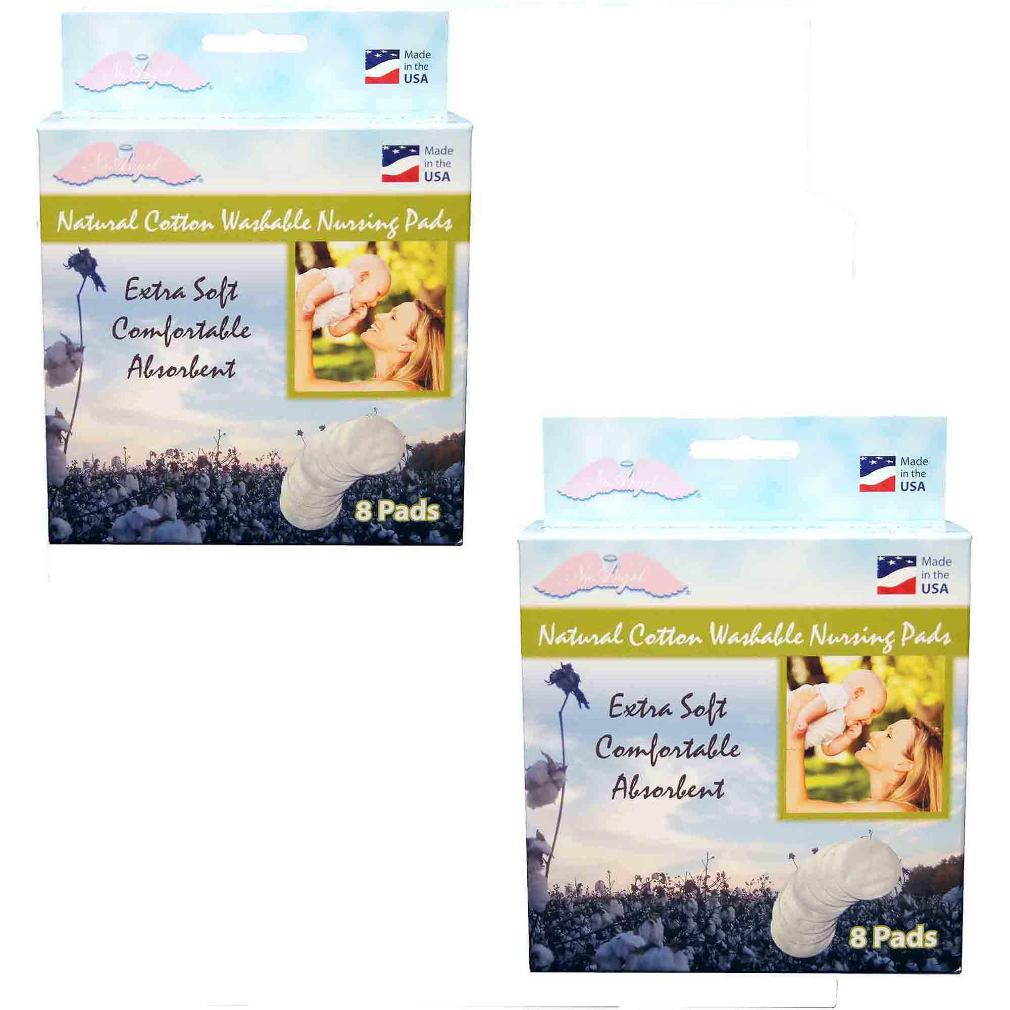 NuAngel All-Natural Cotton Washable Nursing Pads, White, 16ct