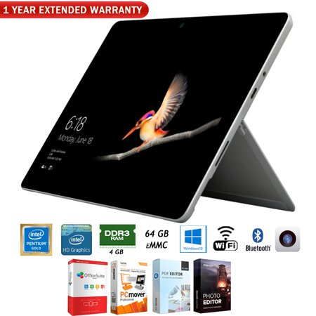 Microsoft MHN-00001 Surface Go 10-inch 64GB Intel Pentium Gold 4415Y Tablet Computer Bundle with Elite Suite 18 Standard Editing Software Bundle and 1 Year Extended Warranty