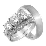 trio wedding ring set for him and her sterling silver 3 piece his 5 mm - 3 Piece Wedding Ring Sets
