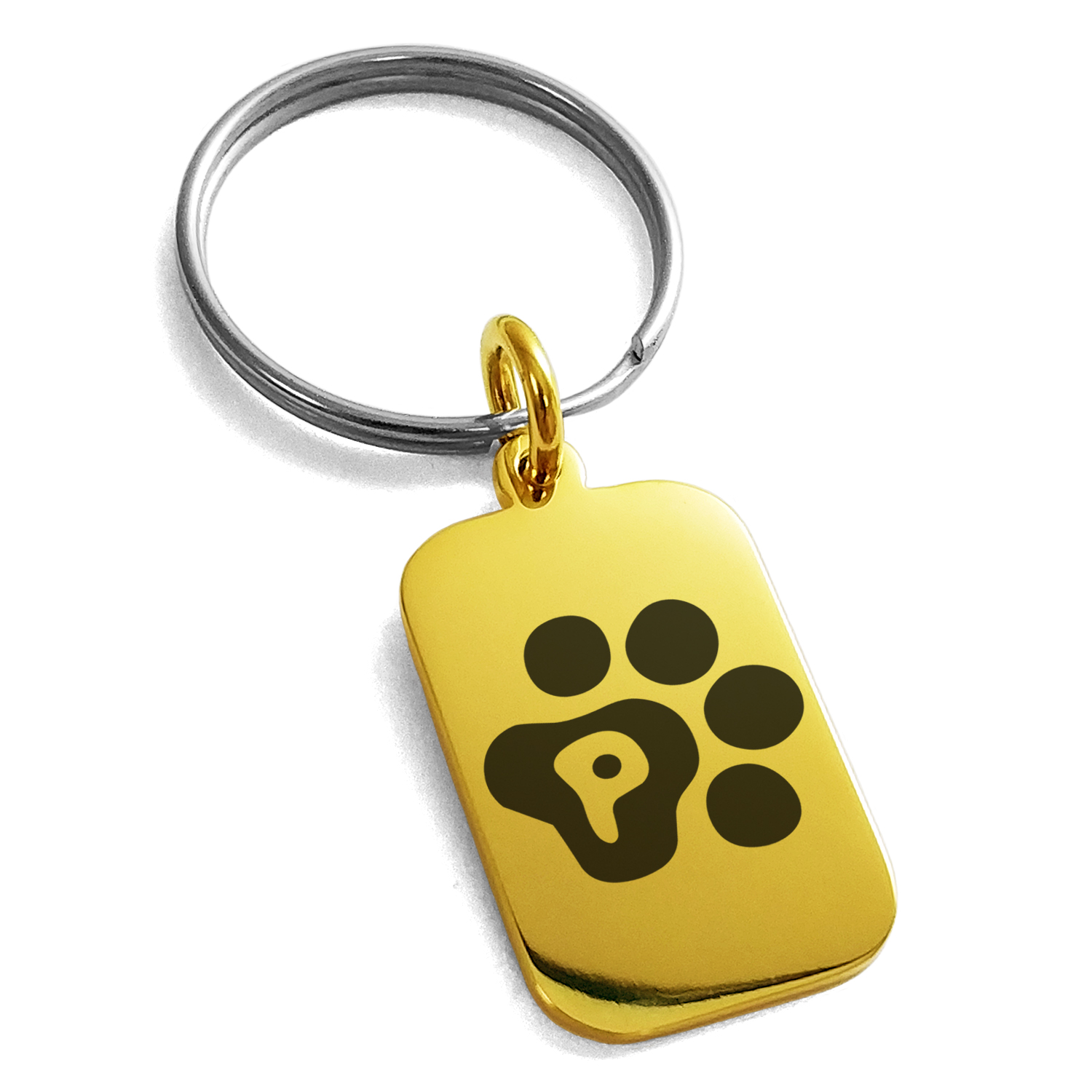 Stainless Steel Letter P Initial Cat Dog Paws Monogram Engraved Small Rectangle Dog Tag Charm Keychain Keyring