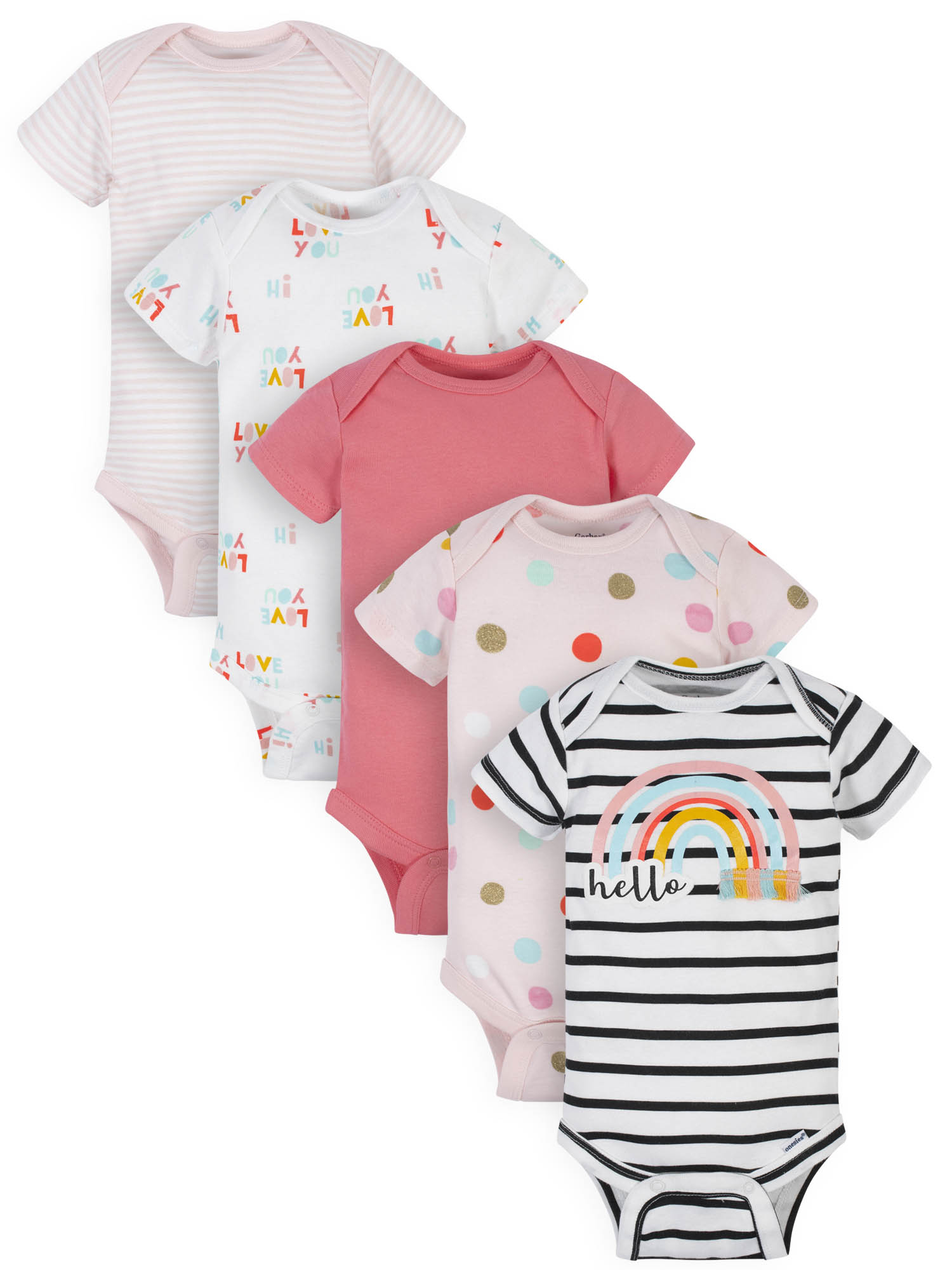 0-3 M Gerber Cute Baby Girl Clothes Bodysuit Onesie Personalized Free Diaper