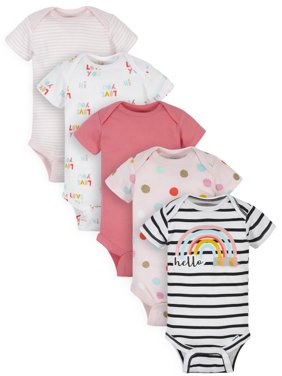 Gerber Baby Girl Organic Short Sleeve Onesies Bodysuits, 5-Pack