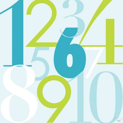 Oopsy Daisy - Modern Numbers - Blue & Green Canvas Wall Art 21x21, Patchi Cancado
