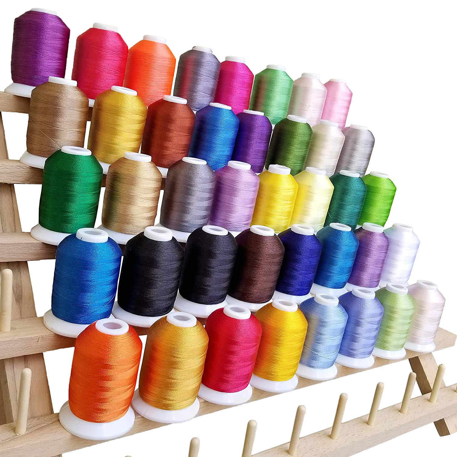 Embroidery Thread - 40 Variety Polyester Spools, Beautiful Colors Perfectly Match Brother/Singer Machines, 550 Yard/ Spool, + 2 Free Bonus - Walmart.com