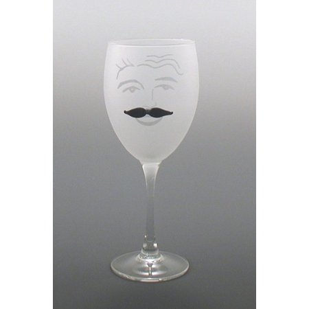 Set of 4 Winston Etched Wine Drinking Glasses With Black Moustache 10.5 ounces