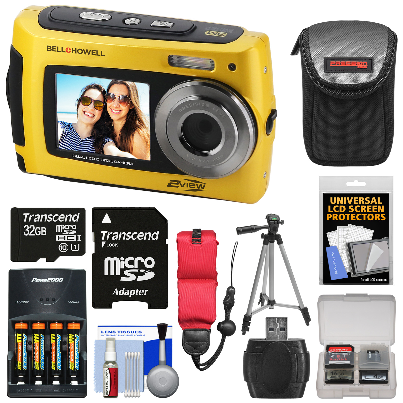 Bell & Howell 2VIEW18 HD Dual Screen Waterproof Digital Camera (Yellow) with 32GB Card + Batteries & Charger + Case + Tripod + Floating Strap + Kit
