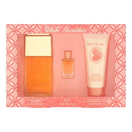 Set Eau De Cologne Spray (White Shoulders by Elizabeth Arden for Women 3 Piece Set Includes: 4.5 oz Eau de Cologne Spray + 3.3 oz Perfumed Body Lotion + 0.25 oz Parfum )