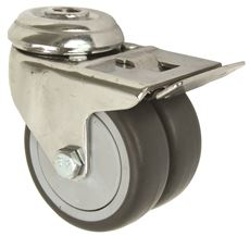 DUAL WHEEL CASTER, STEEL, 3 IN., TOTAL LOCK, 220 LBS CAPACITY