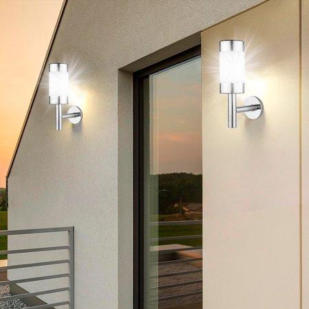 Image of Tebru 2Pcs Stainless Steel LED Solar Power Wall Mount Light Outdoor Garden Yard Sensor Lamp, Outdoor Solar Wall Light, Stainless Steel Solar Wall Light