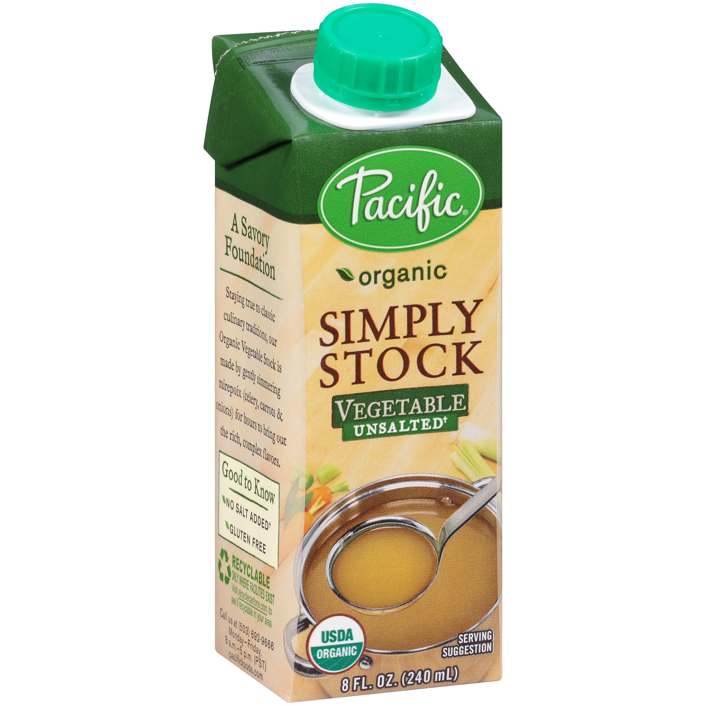 Pacific Foods Organic Unsalted Vegetable Stock, 8-Ounces
