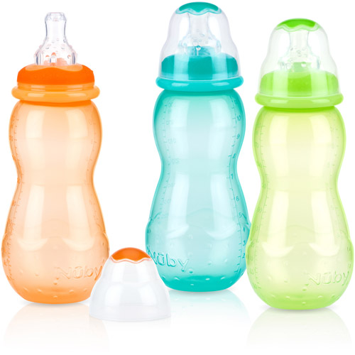 Nuby 3-Pack 11-oz Tinted Non-Drip Bottle, Neutral, BPA-Free