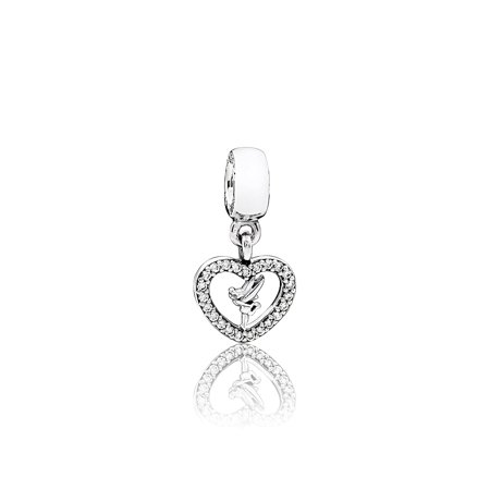 Authentic Openwork Heart with Diamonds Charm in 925 Sterling Silver, 791565CZ ()