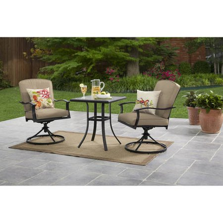 Mainstays Belden Park 3-Piece Swivel Bistro Set, Seats 2