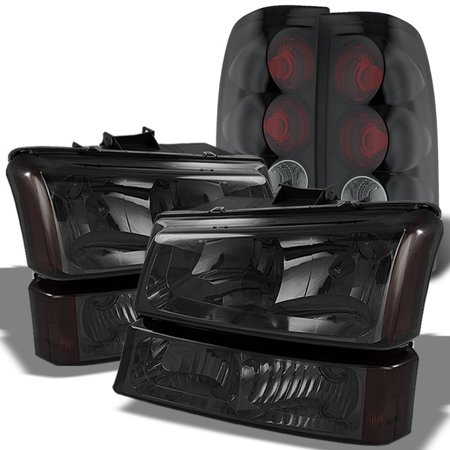 Fits Smoked 2003-06 Chevy Silverado Headlights + Bumper Signal +Tail Lights (89 Tail Light Auto)