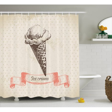 Ice Cream Shower Curtain Nostalgic Grunge Icon On Old Fashioned Polka Dots Background