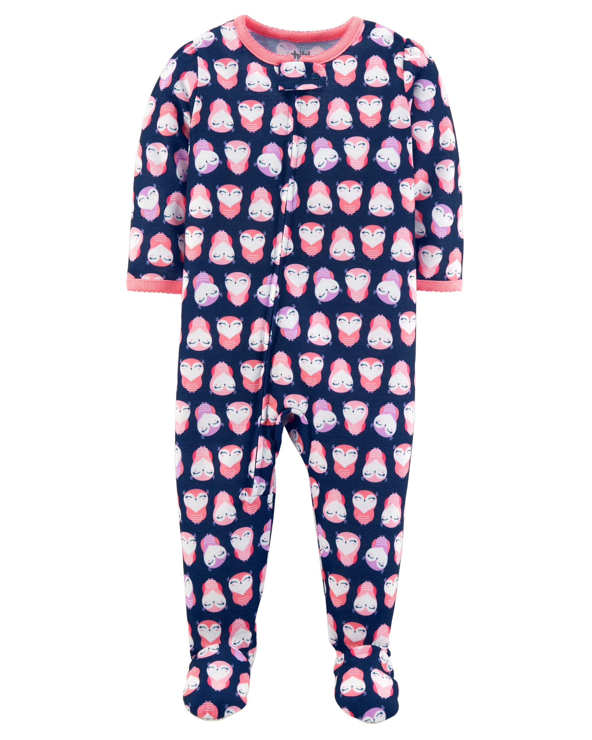 Toddler Girl One Piece Footed Pajamas