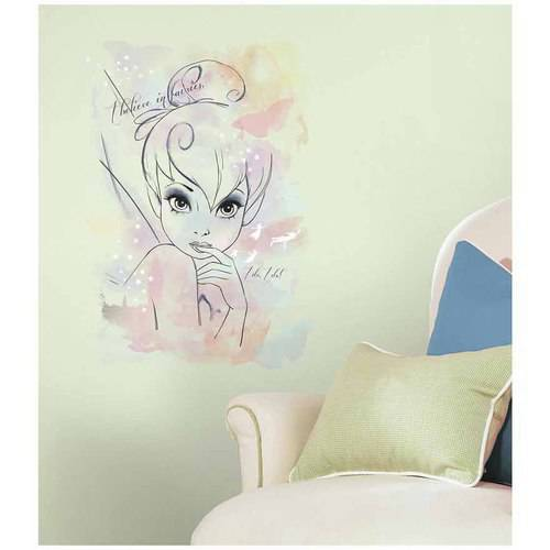 "Disney Fairies ""I Believe in Fairies"" Tink Watercolor Graphic Peel and Stick Giant Wall Decals"