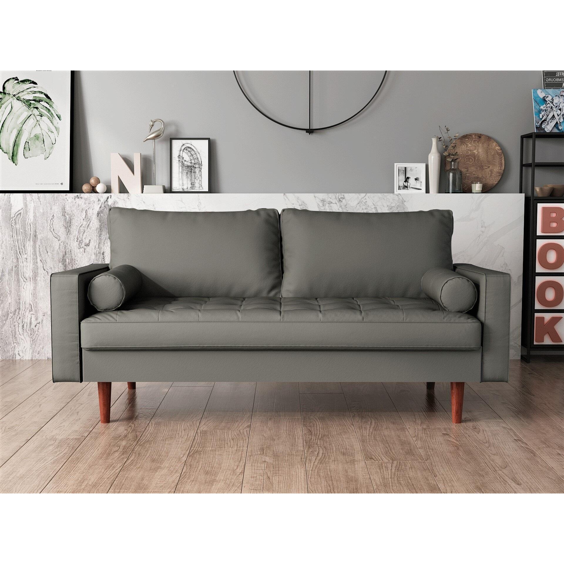 Us Pride Furniture Mid Century Gabler Loveseat In Faux Leather Gray Walmart Com Walmart Com