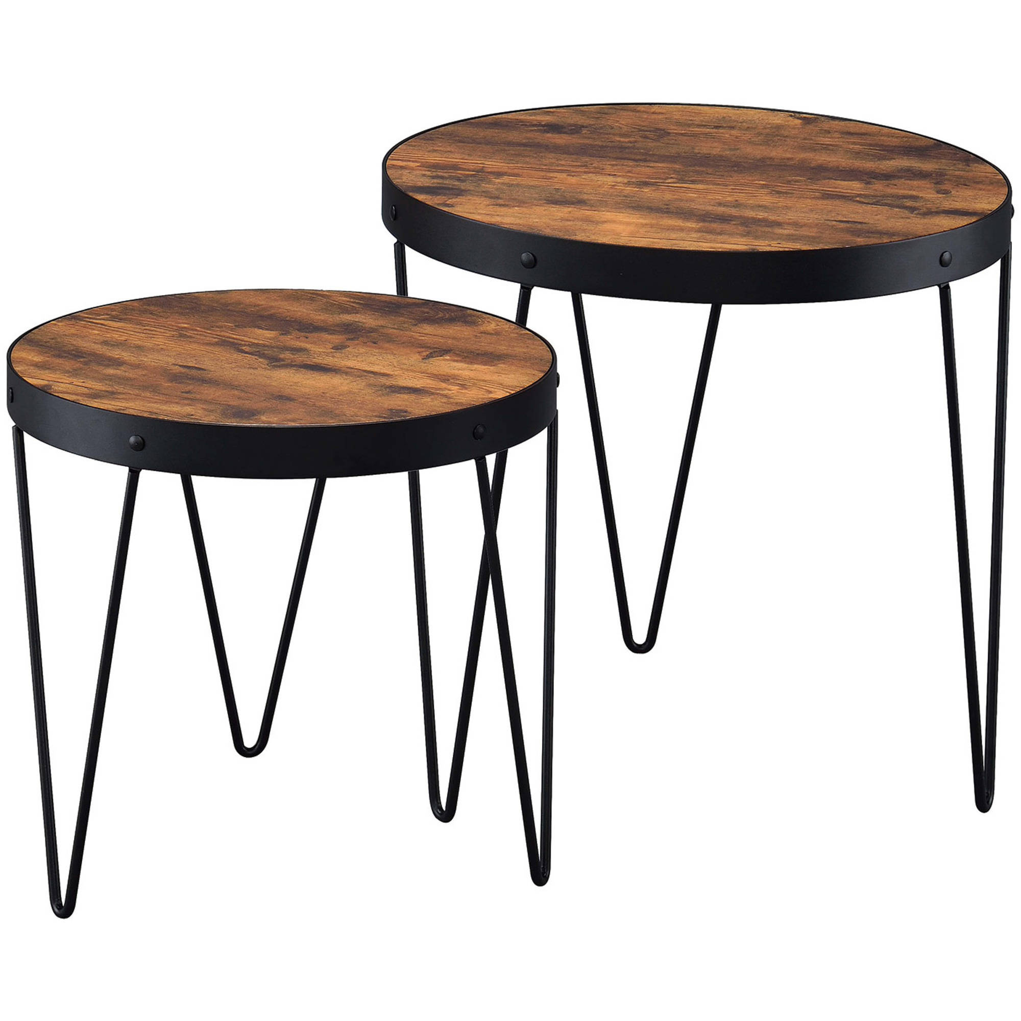 Coaster Company Accent Table, Honey Cherry, Veneer, Black Legs, Two Piece Nesting Table by Coaster Company