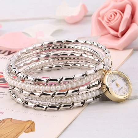 (Crystal Vintage Elegant Retro Women Lady Five Layers Bracelet with Watch)