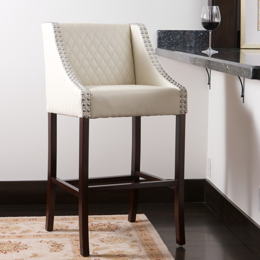 farah ivory quilted bonded leather bar stool