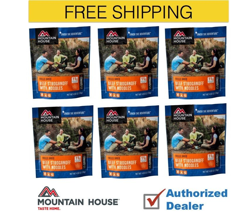 Mountain House Freeze Dried 6 Food Pouches Beef Stroganoff by Mountain House