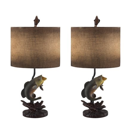 Wave jumper bass fish table lamp with antiqued burlap shade set of 2 wave jumper bass fish table lamp with antiqued burlap shade set of 2 aloadofball Image collections