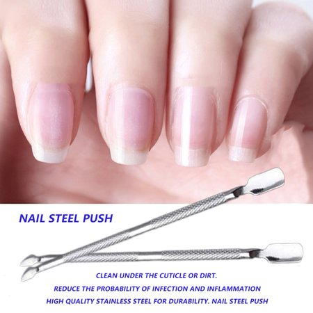 New Stainless Steel Cuticle Nail Pusher Spoon Remover Manicure Pedicure 1pcs Portable Metal Nail Trimmer Manicure Silver - image 4 de 7