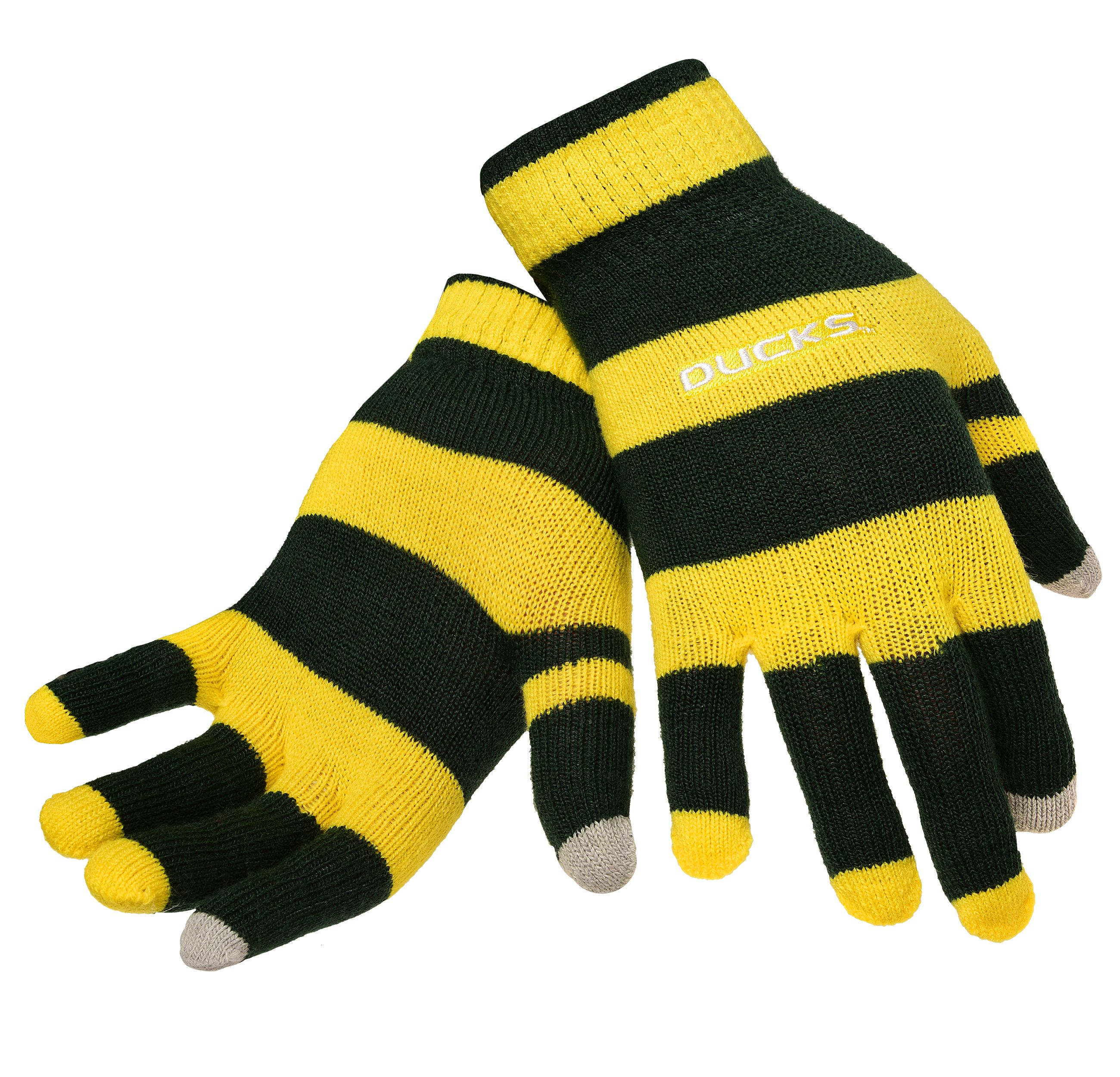 Oregon Ducks Official NCAA Glove Stripe Outdoor Winter Stretch Knit by Forever Collectibles 594376 by Forever Collectibles