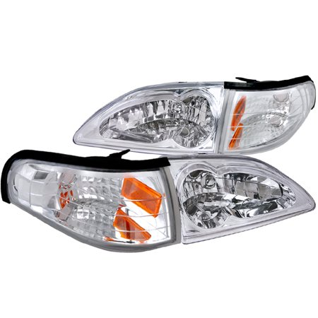 - Spec-D Tuning 1994-1998 Ford Mustang Euro Clear Diamonod Headlights + Corner Lights Lamps Pair (Left + Right) 94 95 96 97 98
