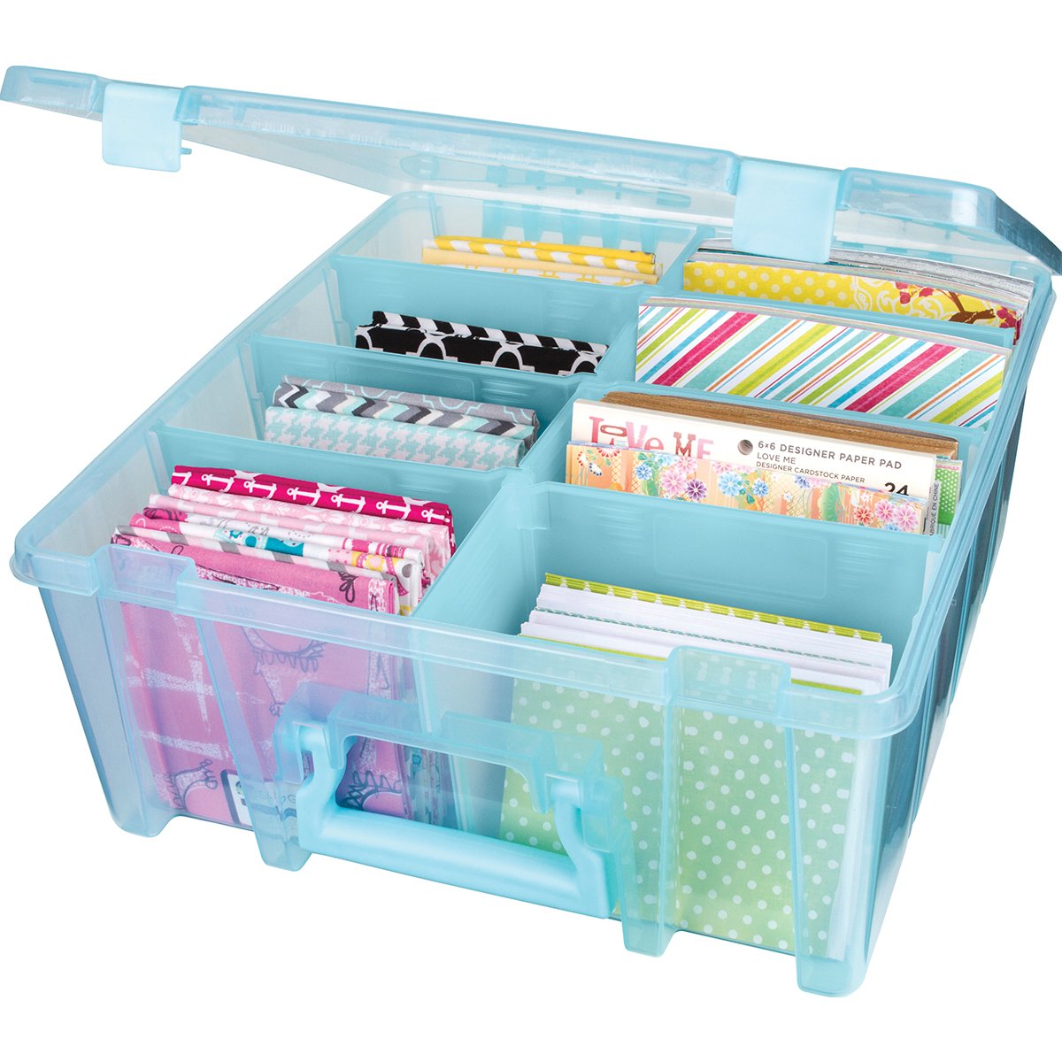 "Artbin Super Satchel Double Deep Box W/Dividers-15.25""X14""X6.25"" Aqua Mist"