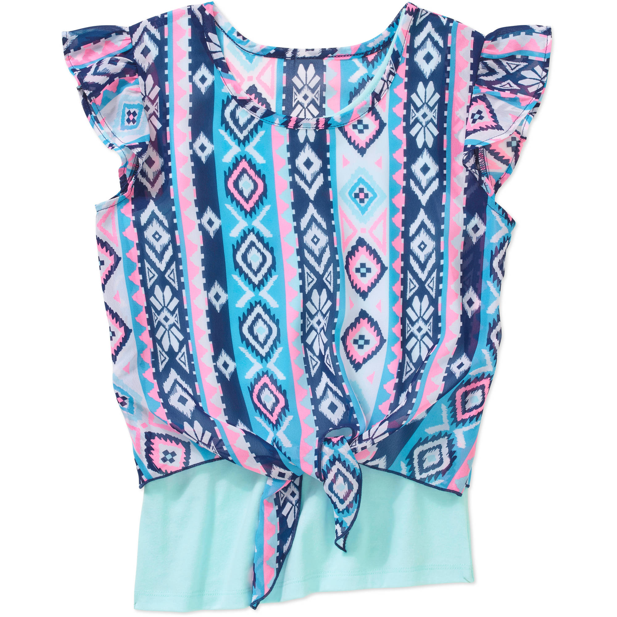Faded Glory Girls' Chiffon Tie Front Top