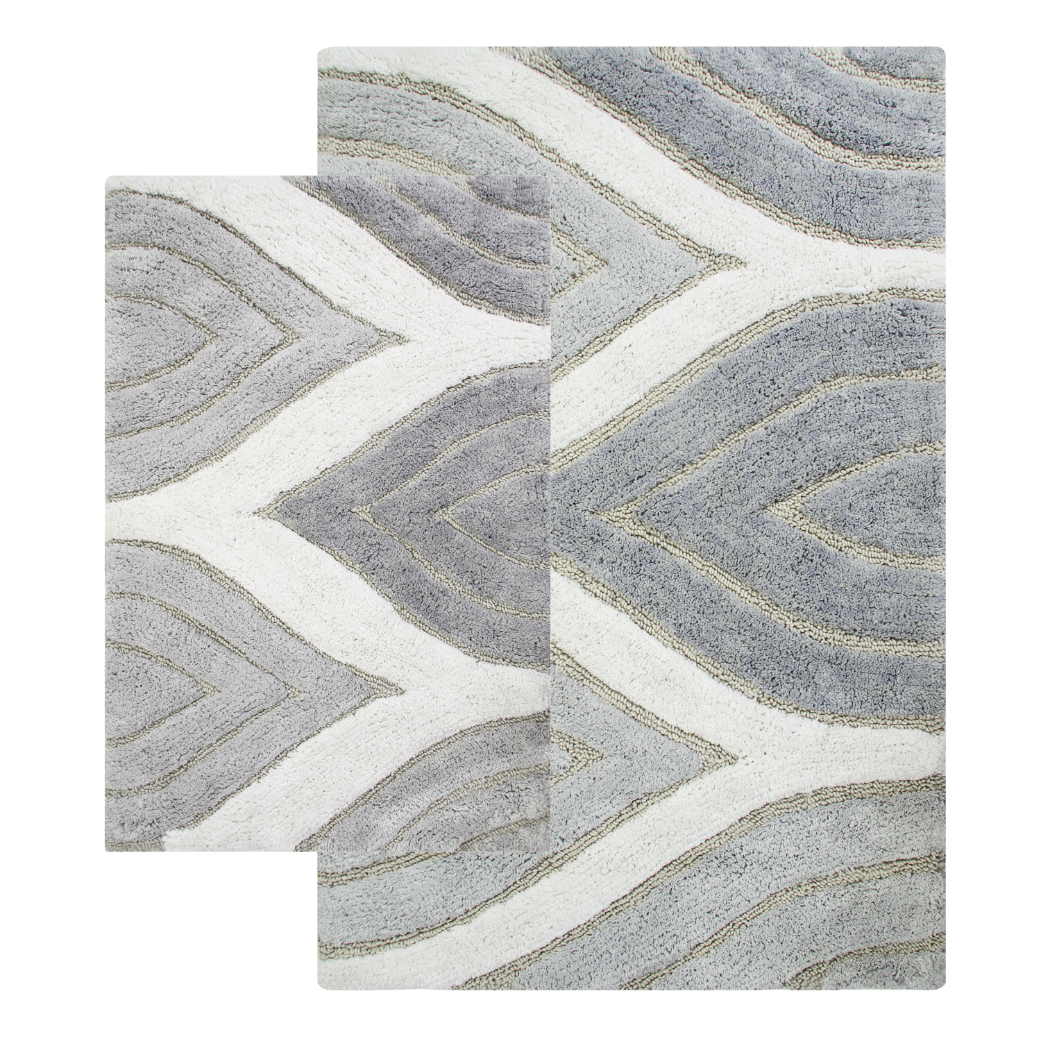 "Chesapeake Davenport 2 Pc. Grey Bath Rug Set (21""x34"" & 24""x40"")"