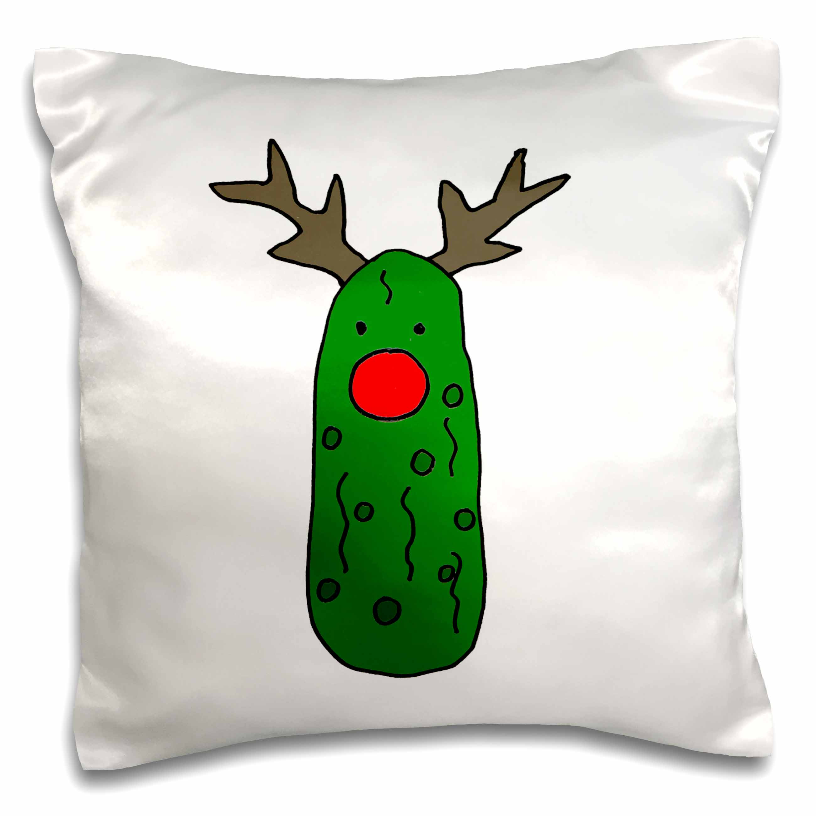 Image of 3dRose Funny Pickle with Red Nose and Antlers like Rudolph Reindeer, Pillow Case, 16 by 16-inch