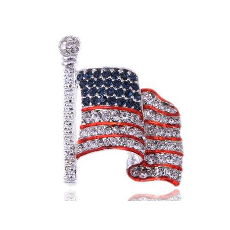 Silvery Tone Crystal Rhinestone USA Flag Brooch Pin -- July 4th Patriotic Ame... ()