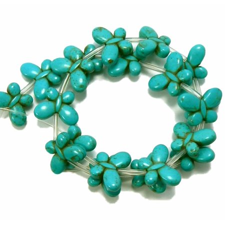 Turquoise Tube Beads - Blue 15x20mm Butterfly Chalk Turquoise Dyed 19, Loose Beads,