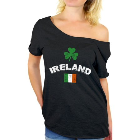 Awkward Styles Womens St. Patricks Day Shirt Ireland Off Shoulder T Shirt Irish Flag Vintage Off Shoulder Tops for Women Irish Pride St Patrick Shirts Lucky Shamrock Tshirt Irish Clover Tee
