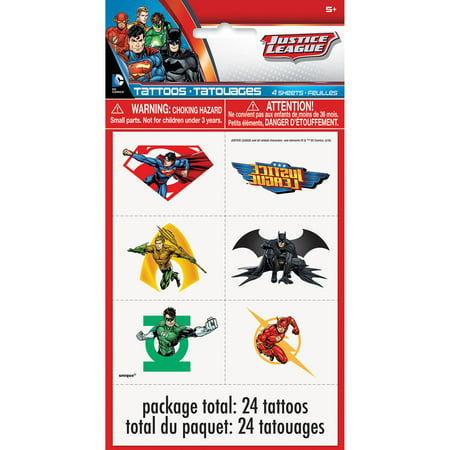 Justice League Temporary Tattoos, 24ct](Tattoos For Kids Names)