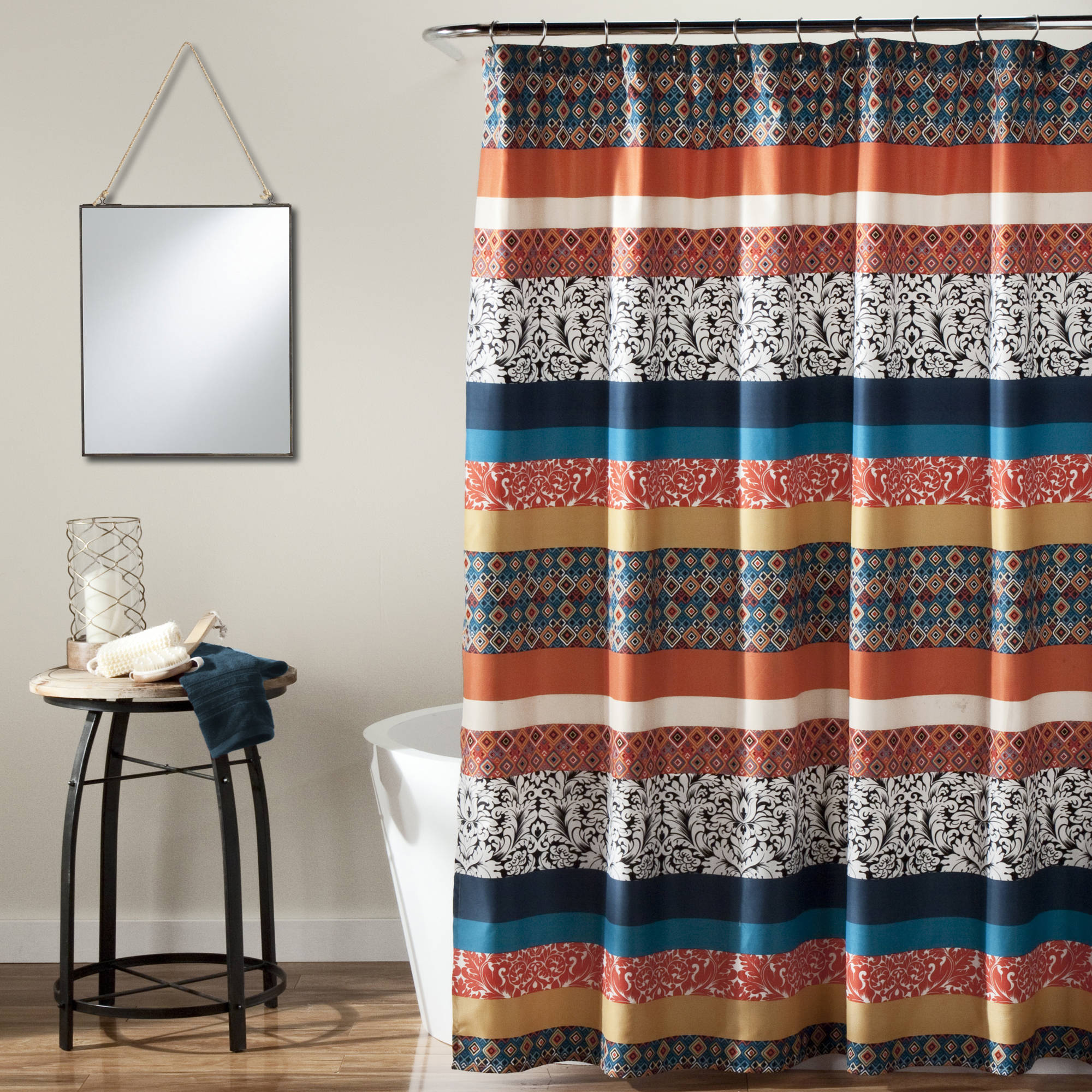 turquoise and black shower curtain.  Boho Stripe Shower Curtain Turquoise Tangerine Walmart com