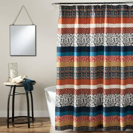 Boho Stripe Shower Curtain, - Shower Scene In Stripes