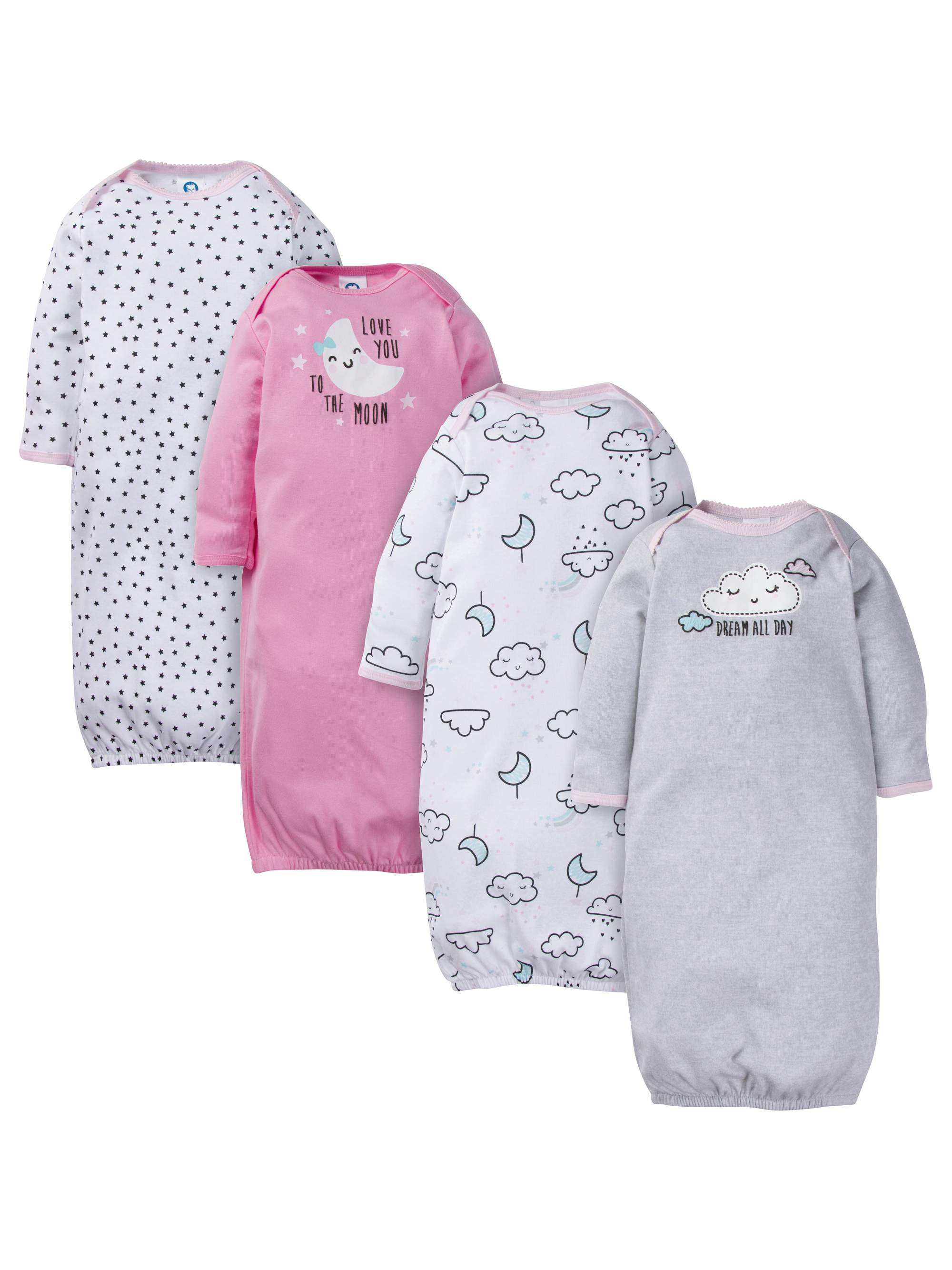 Assorted Lap Should Gown with Mitten Cuffs, 4pk (Baby Girl)