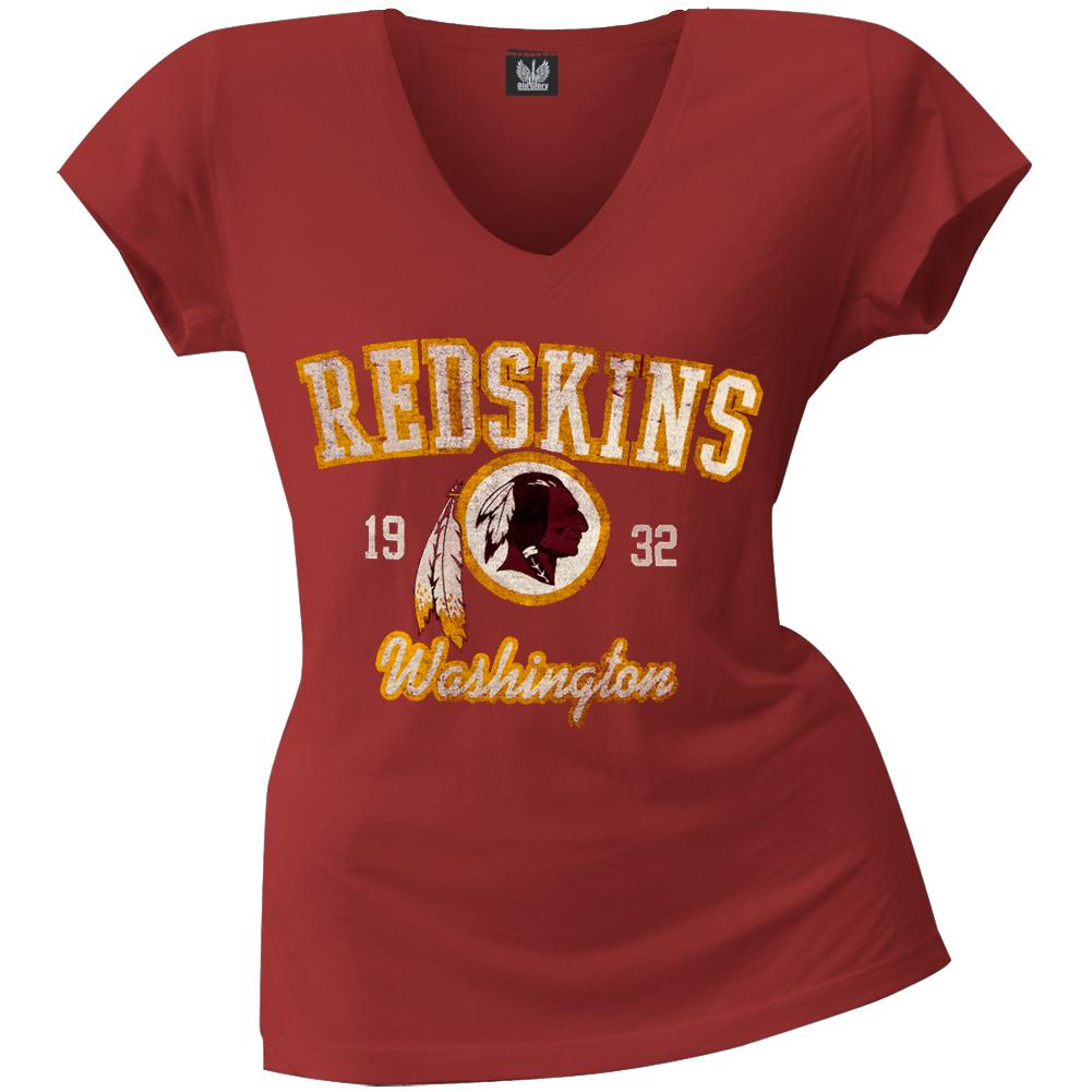 Washington Redskins - Flanker Logo Premium Juniors V-Neck T-Shirt