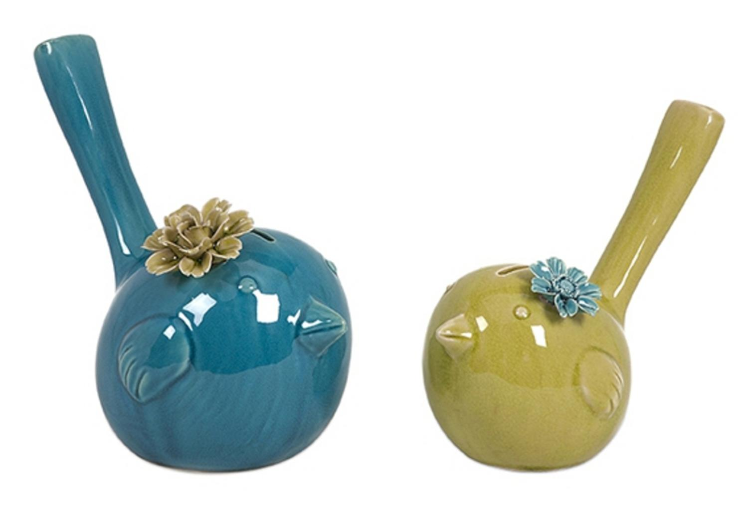 Set of 2 Delightful Trendy Blue and Green Ceramic Bird Piggy Banks by CC Home Furnishings
