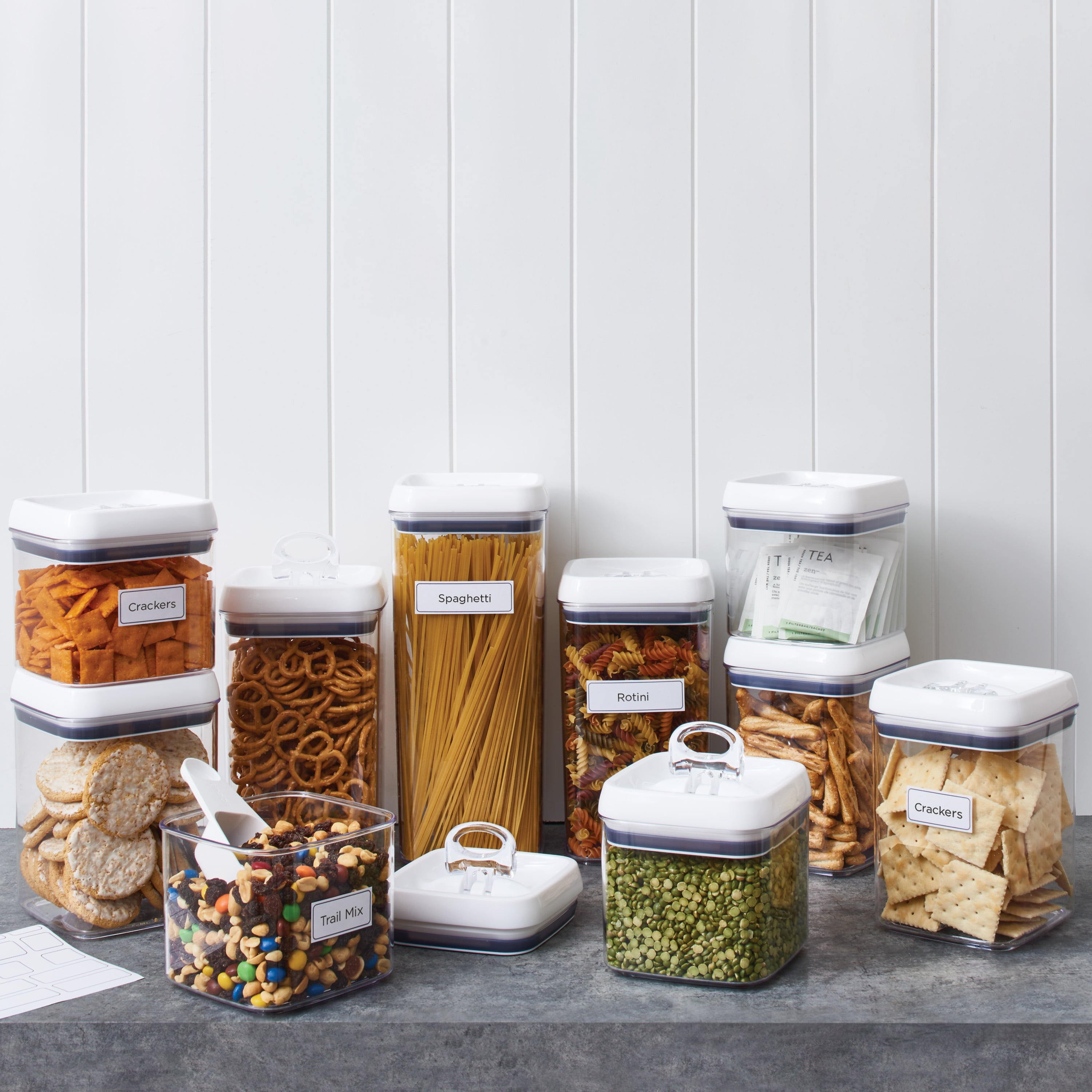 Better Homes & Gardens Flip-Tite Canister 10 Pack Set with Scoop and Labels