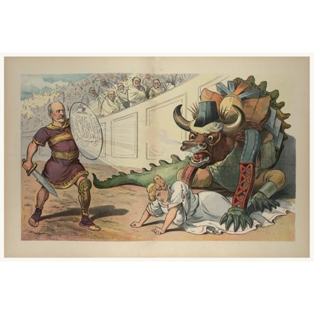 Illustration shows a gladiator holding a sword and a shield in an arena facing a monster with the head of a bull and fashioned out of industrial parts on the ground between its front legs is a woman l