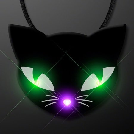 Black Kitty Cat Glowing Green Spooky Halloween Eyes Flashing Blinky Light Necklace