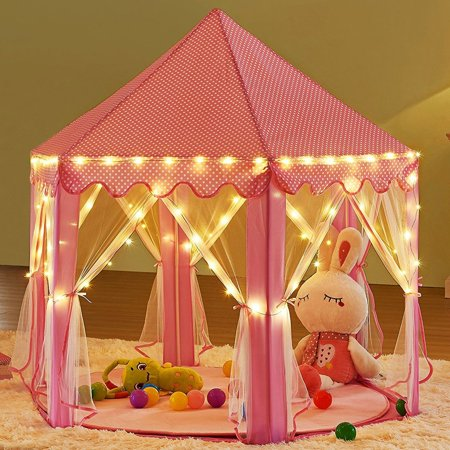 Princess Castle Play Tent with Star LED Lights ,Portable Indoor/Outdoor Kids Child Pink Palace Playhouse- Perfect Toys For Girls](Light Toys For Kids)