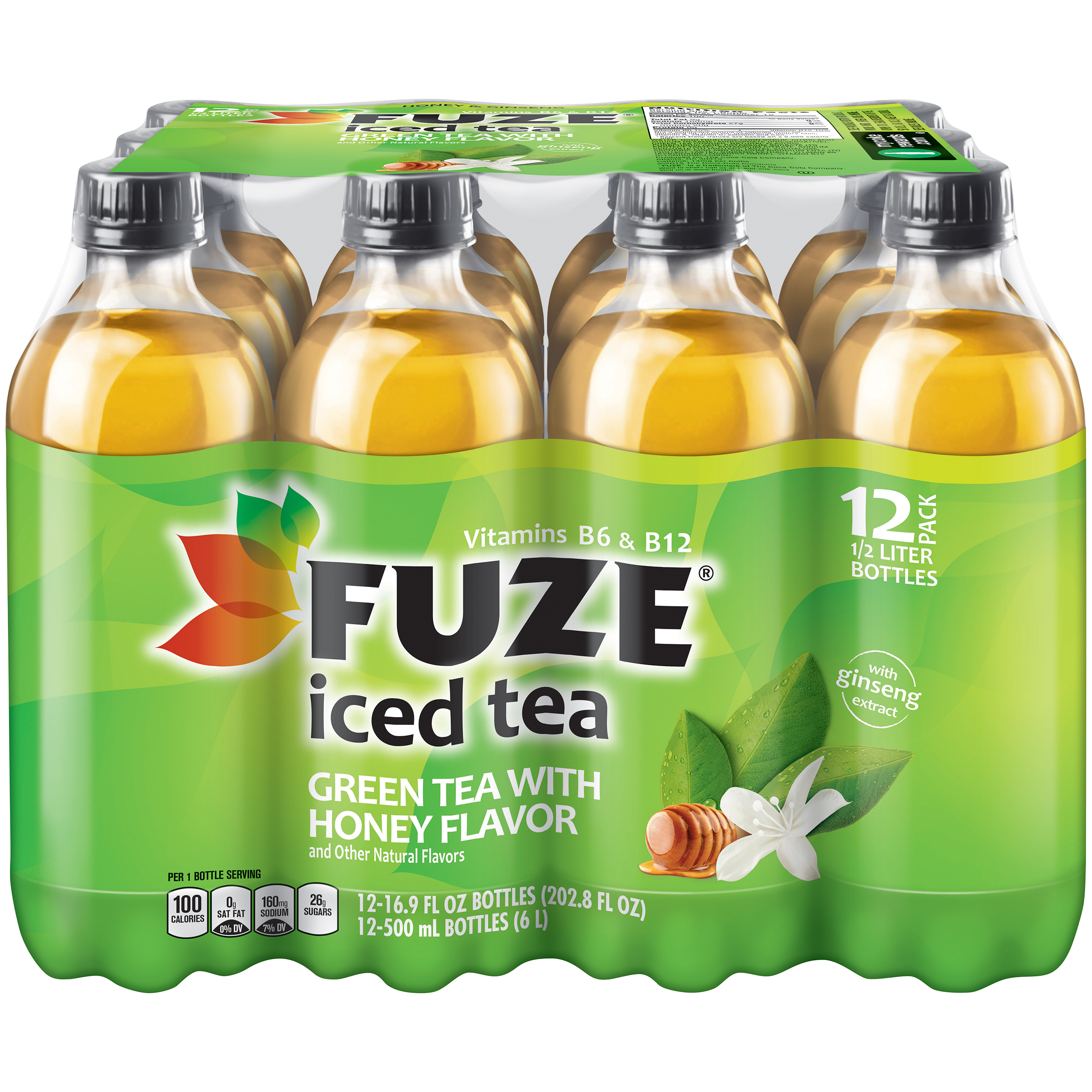 Fuze Iced Tea Honey & Ginseng Green Tea Bottles, 16.9 fl oz, 12 Pack
