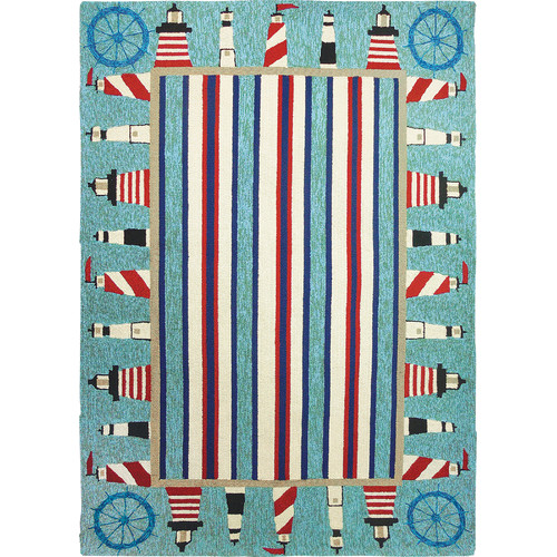 Homefires Lighthouse Brigade Turquoise/Red Indoor/Outdoor Area Rug