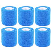 Self Adherent Cohesive Wrap Bandages, 6pcs Sterile Stretch Wrap Stick Bandage Athletic Strong Tape for Sports(Blue)